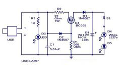 #USBLEDLampCircuit is an electronic circuit,It can be used to light your desktop during power failures.