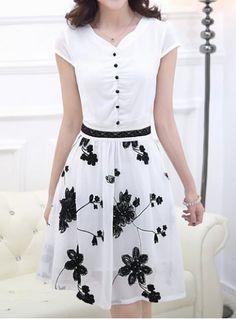 Ladylike V-Neck Short Sleeve Spliced Chiffon Printed Women's Dress