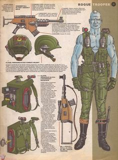 "Rogue Trooper ""Friday"" and the hi-tec arsenal needed to survive combat on the Nu-Earth battlefront,including his bio-chipped buddies,whose personalities are housed in his equipment: Comic Book Characters, Comic Book Heroes, Comic Character, Comic Books Art, Character Design, Book Art, Sci Fi Comics, Fun Comics, Abc Warriors"