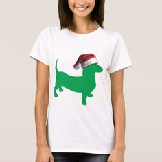 #Light Green Dachshund with a Santa Claus Hat T-Shirt - #xmas #christmas #christmastime #celebration #kids #children #family #parents #gift #gifts #present #presents