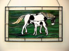 Horse and Foal in Stained Glass
