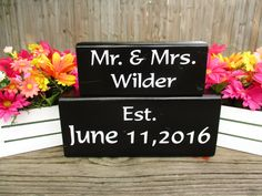 Wood Established Wedding Blocks ~ Personalized Wood Wedding Gifts ~ Last Name Established Blocks ~ Wedding Date Gifts ~ Anniversary Gifts. by WoodenHomeDecorStore on Etsy