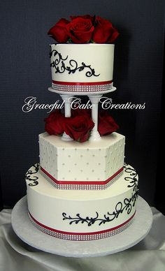 Elegant White Butter Cream Wedding Cake with Black,Red and Silver Accents