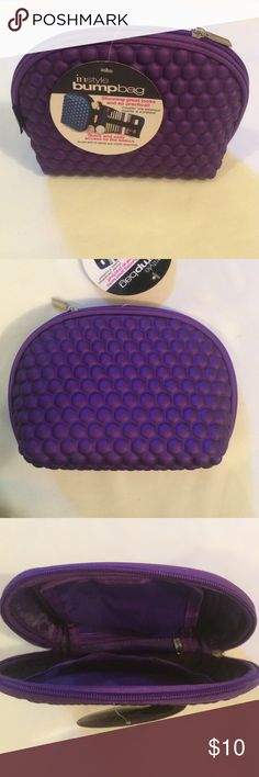 """Instyle bump bag cosmetic case Cool cosmetic case-Purple instyle bump bag NWT . Nice polyurethane texture.Holds a lot of stuff.main storage area to hold hair brushes, your favorite perfume, etc while utilizing the roll-out """"tongue"""" to secure your lipsticks, pencils, cosmetic brushes and other beauty implements. On the reverse side of the roll-out tongue, you'll find a zippered compartment to stow away your valuables such as your favorite pair of earrings. Made of EZ clean materials…"""