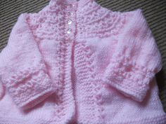 Pink Babys Jacket - Knitting creation by mobilecrafts Knitting Daily, Baby Knitting, Knitted Baby, Pink Cardigan, Sweater Cardigan, Blanket Stitch, Crocheting, Knitting Patterns, Knit Crochet