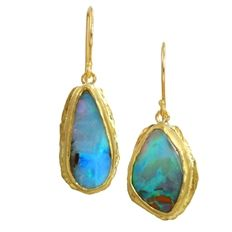 One-Of-A-Kind Opal Earrings - Organically-designed, one-of-a-kind drop earrings are in 22k gold and set with boulder opals that dangle from hook settings; from Margery Hirschey, $2,320