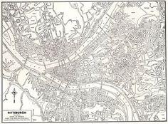Vintage PITTSBURGH Map of Pittsburgh Pennsylvania 1946 Black