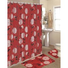 15 Piece Shower Curtain Set Color: Burgundy ($25) ❤ liked on Polyvore featuring home, bed & bath and bath