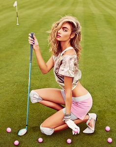 GAME ON golf course // tee // hole in one // neon pink golf balls // trellis cooper // nike // FILA // bracelets // pink // tonic // knee pads / golf club