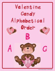 Valentine Candy ABC Ordering Center for Kindergarten Sight Words