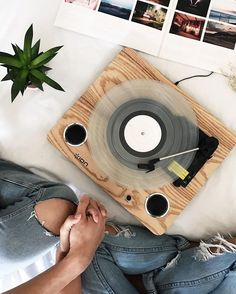 Love this minimal, wooden record player. What records are in your vinyl collection? Vinyl Record Player, Record Players, Vinyl Records, My New Room, My Room, Home Music, Uo Home, Rock Poster, Pop Punk