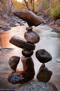 Michael Grab practices the art of balancing stones.