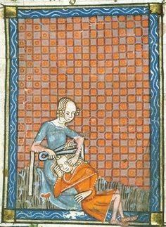 An example of the faithlessness of women: detail of a miniature of Delilah cutting Samson's hair; from Guillaume de Lorris and Jean de Meun, Roman de la Rose, France, c. 1380,