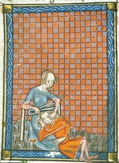 An example of the faithlessness of women: detail of a miniature of Delilah cutting Samson's hair; from Guillaume de Lorris and Jean de Meun, Roman de la Rose, France, c. 1380,