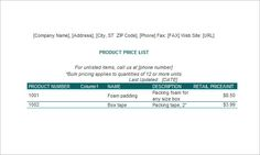 excel price list template