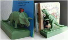DIY: book ends made of spray painted wood blocks and dinosaur toys.