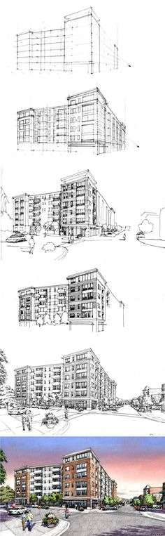 PROCESS: One Day Charrette for LaGrange.  Fitzgerald Architects.  Renderings by Bruce Bondy, Bondy Studio.