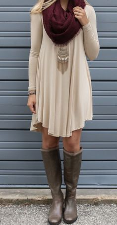 Nude dress and burgundy scarf clothes outfits, dress with boots, dress outf Mode Outfits, Casual Outfits, Fashion Outfits, Dress Outfits, Scarf Outfits, Casual Dresses, Stylish Dresses, Tunic Dresses, Backless Dresses
