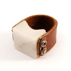 Marble & Leather Ring