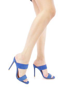 Blue Open Toe Double Strap Heels
