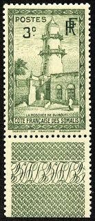 "Somali Coast (French Somaliland)  1940 Scott 147 3c slate green  ""Mosque of Djibouti"""