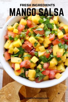 Fresh Mango Salsa is bursting with bright sweet flavors from the perfectly ripened mango and bright red tomatoes with a hint of heat from a jalapeno. Mango Salsa Recipes, Fruit Recipes, Mexican Food Recipes, Salad Recipes, Dinner Recipes, Cooking Recipes, Healthy Recipes, Mango Tomato Salsa, Easy Recipes
