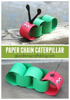 Adorable caterpillar craft for kids! A paper chain craft that preschoolers can make! Inspired by The Very Hungry Caterpillar book! Spring Crafts For Kids, Daycare Crafts, Paper Crafts For Kids, Summer Crafts, Toddler Crafts, Preschool Crafts, Diy Paper, Fall Crafts, Diy For Kids