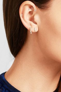 Maria Tash – gold diamond earring Diamonds, total weight: Butterfly fastening for pierced ears NET-A-PORTER.COM is a certified member of the Responsible Jewellery Council Moonstone Earrings, Gold Diamond Earrings, Crystal Earrings, Ear Jewelry, Jewelry For Her, Body Jewelry, Jewellery, Ear Peircings, Cute Ear Piercings