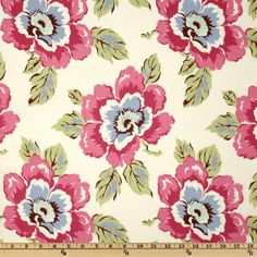 Amy Butler Gypsy Caravan Wild Poppy Creamy Linen - Discount Designer Fabric - Fabric.com