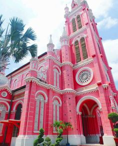 Great architecture at its finest! // : captured this beautiful image of the pink Tan Dinh church in Ho Chi Minh Vietnam. Vietnam Ho Chi Minh, Ho Chi Minh City, Saigon Vietnam, Vietnam Travel, Asia Travel, Beautiful Vietnam, Jesus Christ Superstar, Pink Houses, Jesus Freak