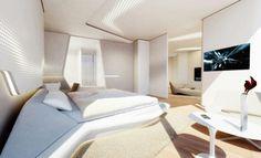Habitacion en el nuevo hotel de la Arq. Zaha Hadid en Abu Dabhi, en el.Opus cube.