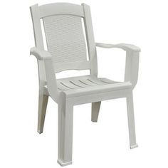 adams mfg corp white slat seat resin stackable patio dining chair