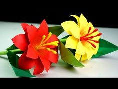 How to Make Paper Stick Flower Making Paper Flowers Step by Step Handmade Craft Hi. If you like crafts, paper work, origami, be. Paper Origami Flowers, Paper Flowers Craft, How To Make Paper Flowers, Giant Paper Flowers, Flower Crafts, Diy Flowers, Fabric Flowers, Paper Crafts, Flower Making Crafts