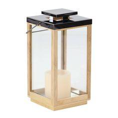 Studio 350 Contemporary Rectangular Wood and Stainless Steel Lantern