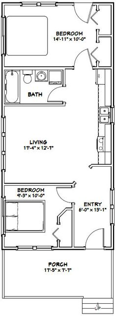 18x40 Tiny House -- #18X40H2K -- 720 sq ft - Excellent Floor Plans