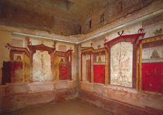 Wk 2. p.73 Second Style, mural paintings, east an south walls of the Room of the Masks (room 5), House of Augustus, Palatine Hill, Rome, ca. 30-25 BCE.