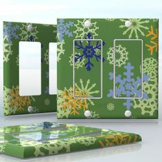 DIY Do It Yourself Home Decor - Easy to apply wall plate wraps | Color Snowfall  Blue and yellow snowflakes on green background  wallplate skin sticker for 2 Gang Decora LightSwitch | On SALE now only $4.95