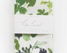 Composición de la hierba - acuarela toalla de té