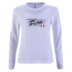 Peru 2018 FIFA World Cup Russia™ Modern Womens Long Sleeve T-Shirt (White f31bd3857