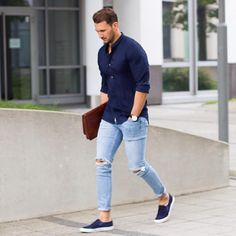 DARK BLUE COTTON SHIRT + LIGHT BLUE JEANS + BLUE ESPADRILLES