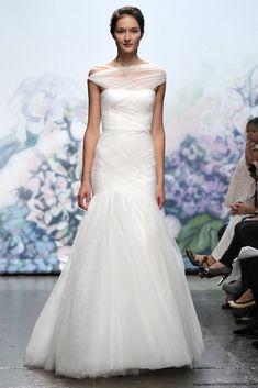 Love the unique off the shoulder straps. Monique Lhuillier Emotion Wedding Dress