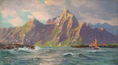 View of Loften Islands, Norway | From a unique collection of landscape paintings at https://www.1stdibs.com/art/paintings/landscape-paintings/
