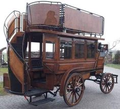This double-decker horse-drawn bus was made in the and used in the Chermside-Windsor area until Four to six horses pulled the bus. Vintage Cars, Antique Cars, Antique Trucks, Horse Drawn Wagon, Horse Wagon, Kombi Home, Old Wagons, Horse Carriage, London Bus