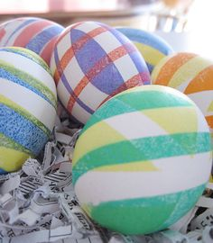 This coming Easter, Dye Striped Eggs with Electrical Tape. Apply the Tape in any Pattern you want, Dye the Egg with the Tape still on, Remove for Nice, Clean Stripes.