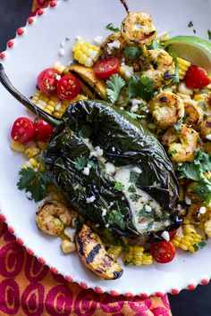 Grilled Chiles Rellenos with Chipotle Peach Mojo Shrimp (Spicy Butter Shrimp) Chile Relleno, Great Recipes, Favorite Recipes, Healthy Recipes, Healthy Foods, Recipe Ideas, Seafood Dishes, Fish And Seafood, Grilled Peppers