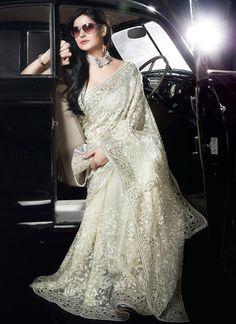 Cbazaar Magnificent Off White Net Saree $221 indian bride bridal dress gown fashion wedding