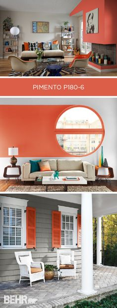 Pimento is BEHR Paint's Color of the Month, and we're feeling inspired. This red-orange shade calls to mind the image of fall leaves. Use as an accent color when paired with cool grays, bright whites, or warm tans to give your home a cozy, inviting look.