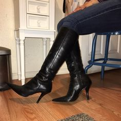 Black pointy 3 inch heel boots. Black Leather boots. In perfect condition. Boots are knee length. Nine West Shoes Heeled Boots
