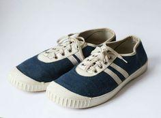 70s GDR Vintage shoe sneakers blue white Germina