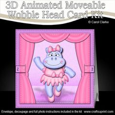 Meet Hilda Hippo, and what a great dancer she is ...... on stage and ready to take a bow.    A fabulous 3D Animated Moveable Wobble Head keepsake card that is simple to make but looks really stunning when made up and will WOW the recipient. A gentle push or pull on the animation bar will allow the head to animate and wobble!    Everything you need to make a really gorgeous card with an animated moveable decoupage wobble head topper that folds flat for posting ... and .... I have also…